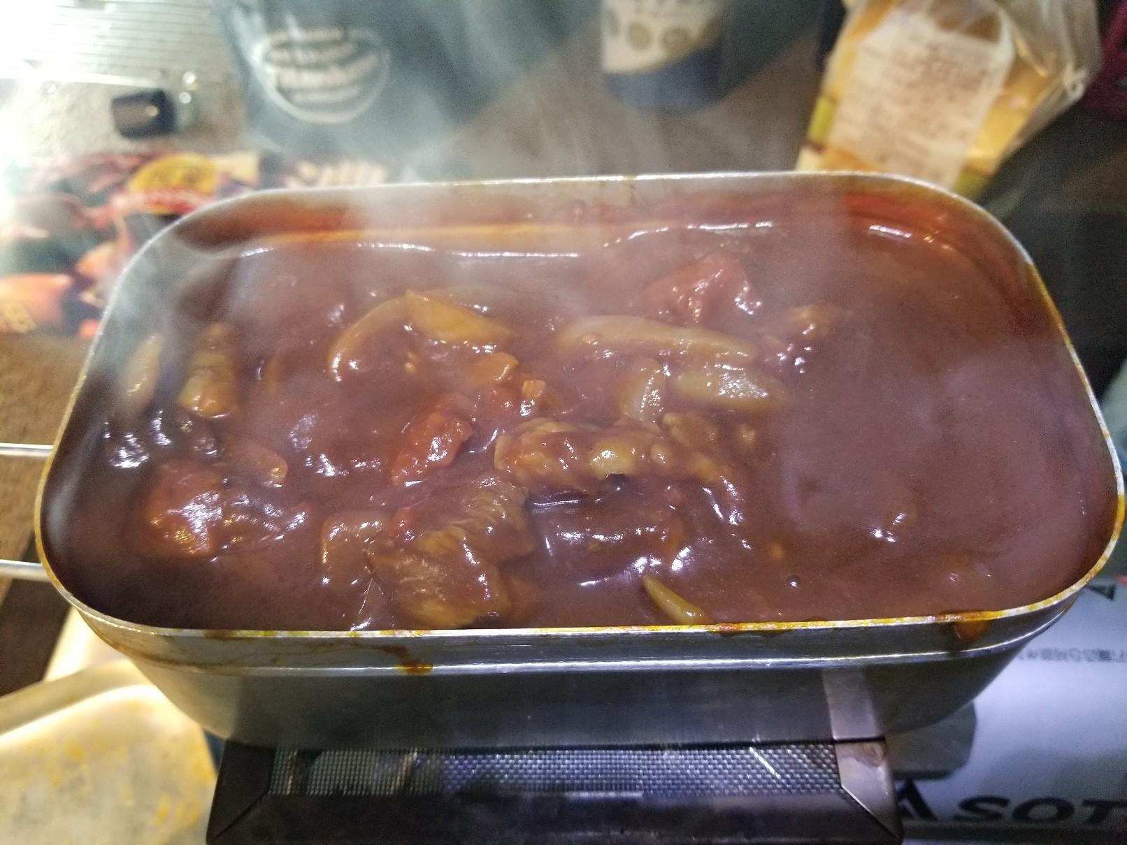 今日の車中飯「トマトで煮込んだビーフシチュー」