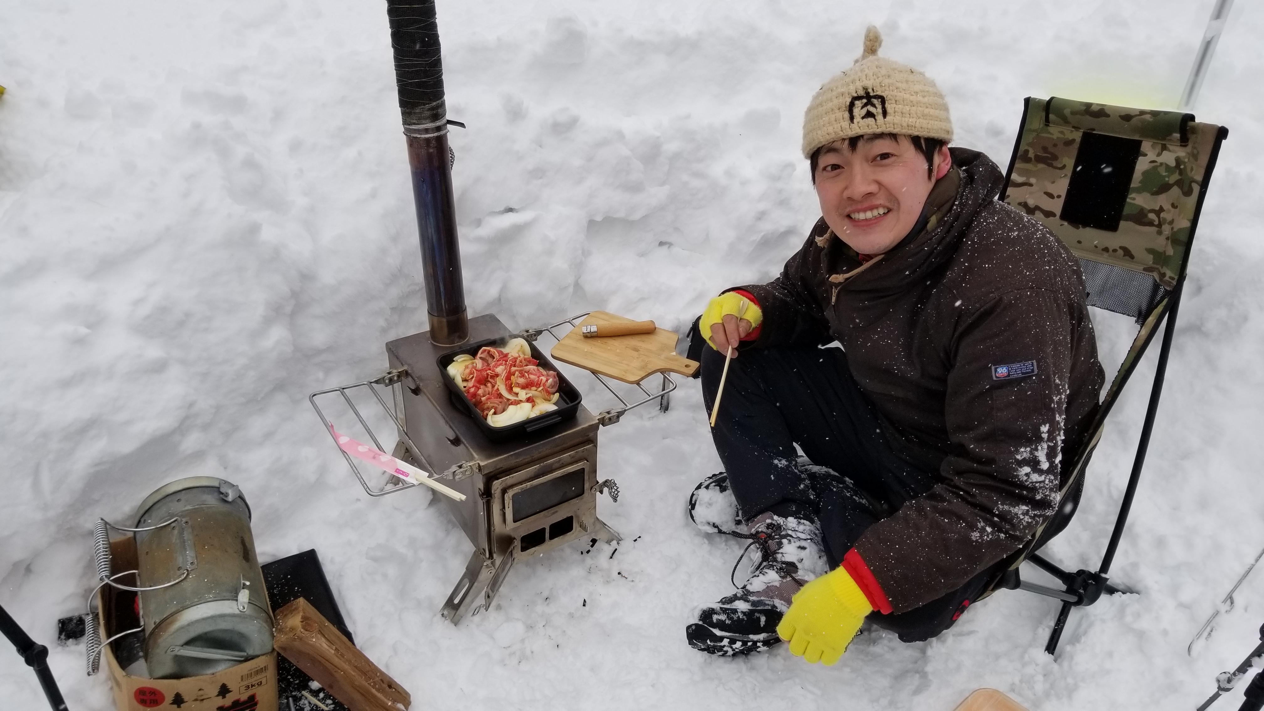 梵珠山雪中デイキャンプ